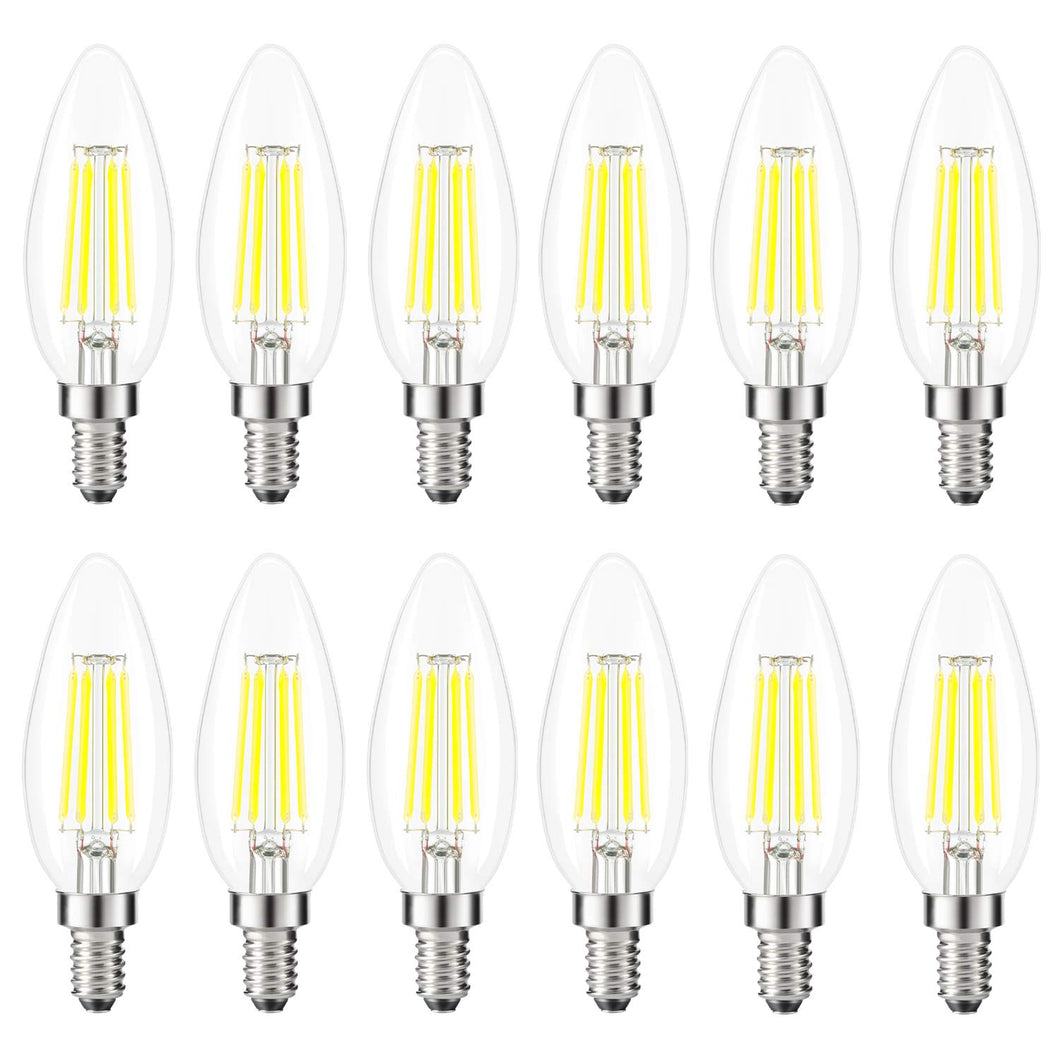 Kohree Candelabra LED Bulbs, 4 Watt 5000K Daylight White, E12 Led Bulb Base 40W Equivalent LED Edison Filament Chandelier Candle Light Bulb 12 Pack, UL Listed - kohree