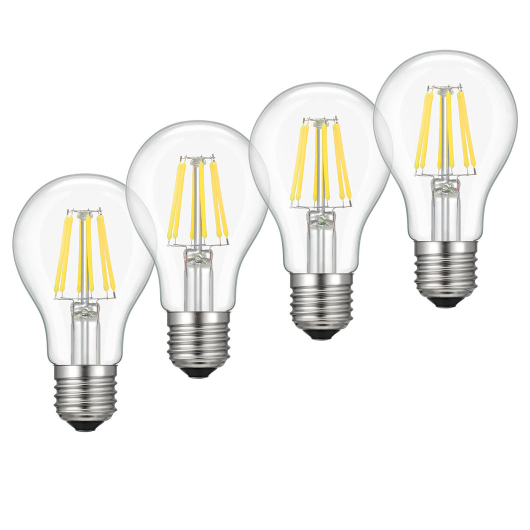 Kohree 6W Edison Vintage LED Filament Dimmable Light Bulb, 60W Equivalent Bulb, 4000K Daylight (Neutral White), E26 Base,A19,  Pack of 4 - kohree