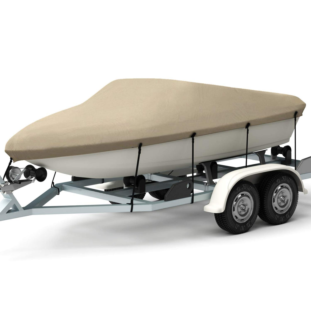 Kohree Trailerable Runabout Boat Cover Fit V-Hull Tri-Hull Fishing Ski Pro-Style Bass Boats,Heavy Duty 600D Polyester 14''~16''x68'' - kohree