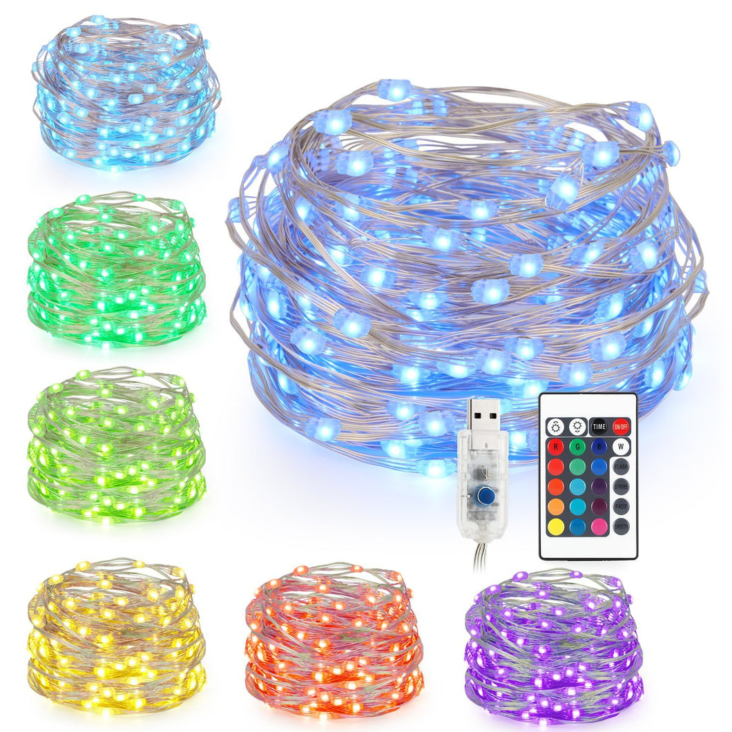 Kohree LED String Lights,USB Powered Multi Color Changing String Lights With Remote,100leds Indoor Decorative Silver Wire Lights for Bedroom ,Patio,Outdoor Garden,Stroller,DecorTree.(33ft) - kohree