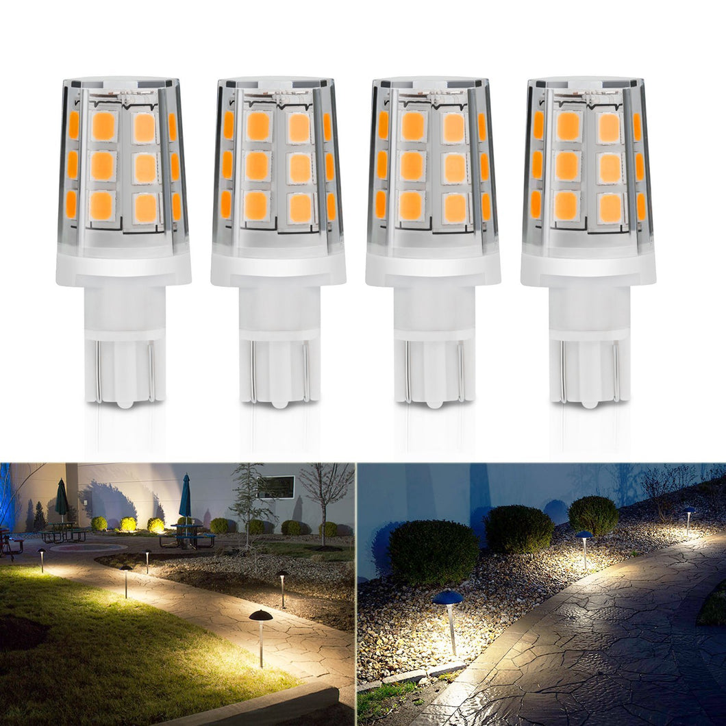 Kohree 2.5W LED Replacement Landscape Pathway Light Bulb 12V AC/DC Wedge Base T5 T10 for Malibu Paradise Moonrays and more (4 Pack, Warm White) - kohree