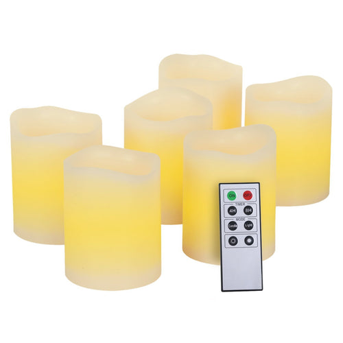 Kohree Real Wax Flameless LED Candles Remote Control Candles Battery Operated Retro Unscented Ivory Votive Pillar Candles Light, Warm White (Pack of 6) - kohree