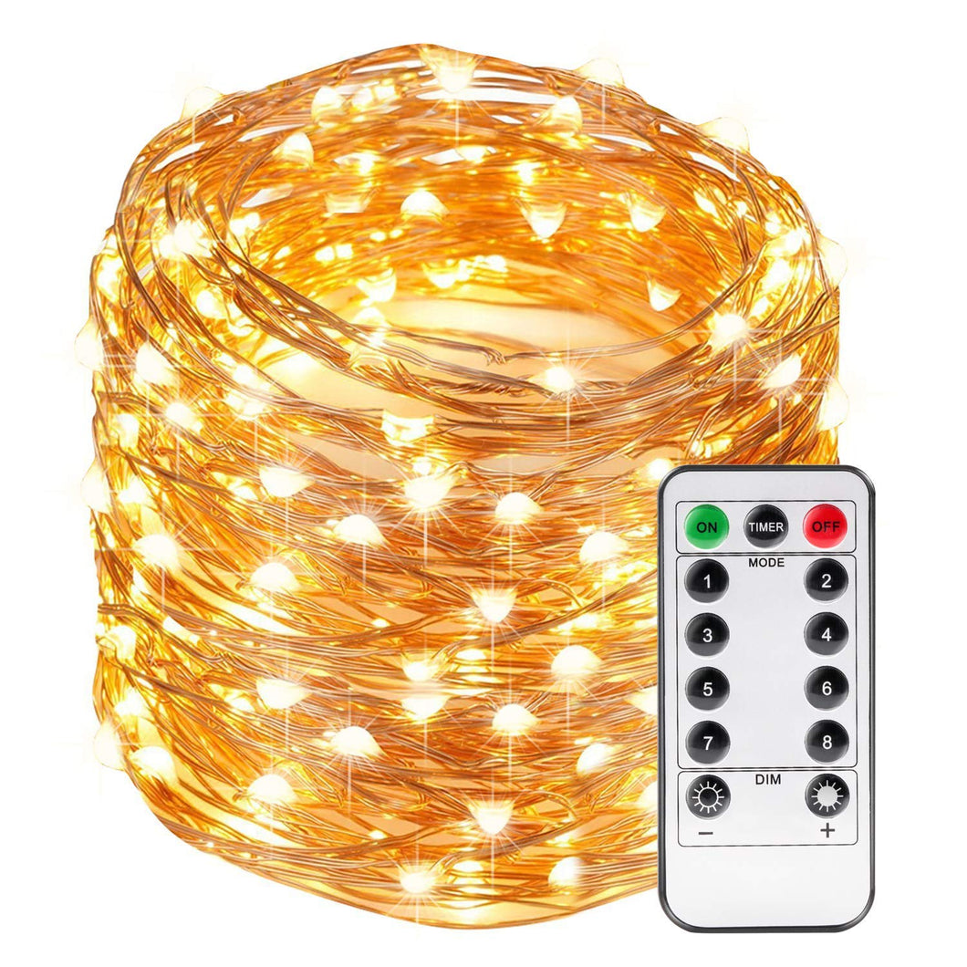 Kohree String Lights LED Copper Wire Fairy Christmas Light with Remote Control, 66ft/20M 200LEDs, UL Listed Seasonal Decor Rope Lights for Holiday, Wedding, Parties, Warm White - kohree