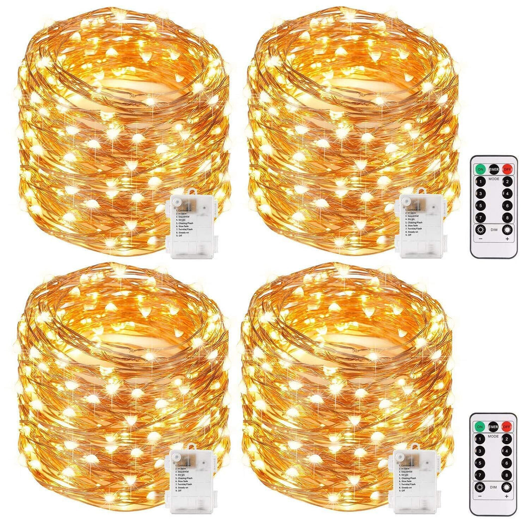 Kohree 33ft (10m) 100 LEDs Fairy Lights Copper Wire Lights - with Timer ,Rope String Lights for Festival, Christmas, Wedding, Holiday and Party - Warm White, Battery Powered (4 pack)
