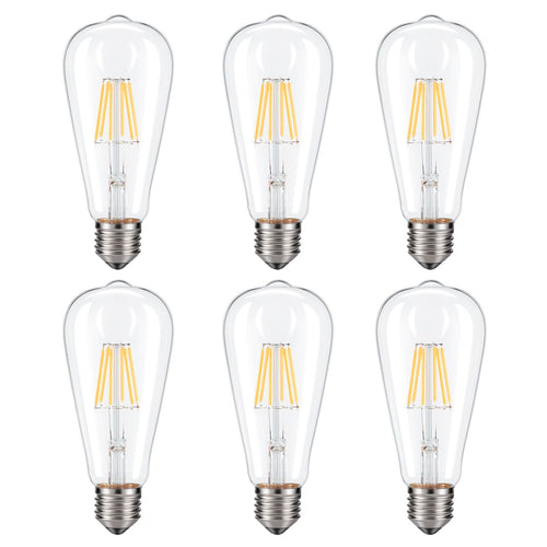 Dimmable Edison LED Bulb, Kohree 6W Vintage LED Filament Light Bulb, 2700K Soft White, 60W Incandescent Equivalent, E26 Medium Base Lamp for Restaurant,Home,Reading Room,Office, Pack of 6