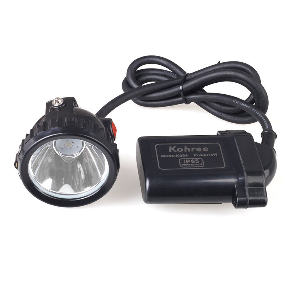 Kohree 5W KL6LM Waterproof IP65 LED Miner Headlamp with Smart Charger & Car Charger,Fit for Hog/deer/coon/coyote Hunting,Mining,Camping etc