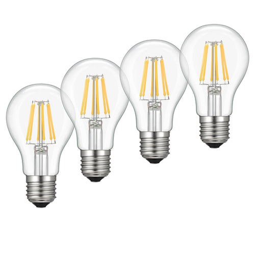 Kohree 4 pcs A19 LED Bulb Dimmable 6W Vintage Equivalent Lighting Bulbs, 2700K Soft White, - kohree