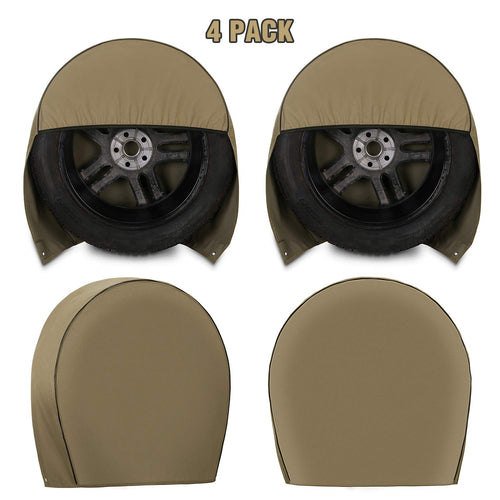 Kohree Tire Covers for RV Wheel Set of 4 Heavy Duty 600D Oxford Motorhome Wheel Covers, Waterproof PVC Coating Tire Protectors for Trailer Truck Camper Auto, Fits 29