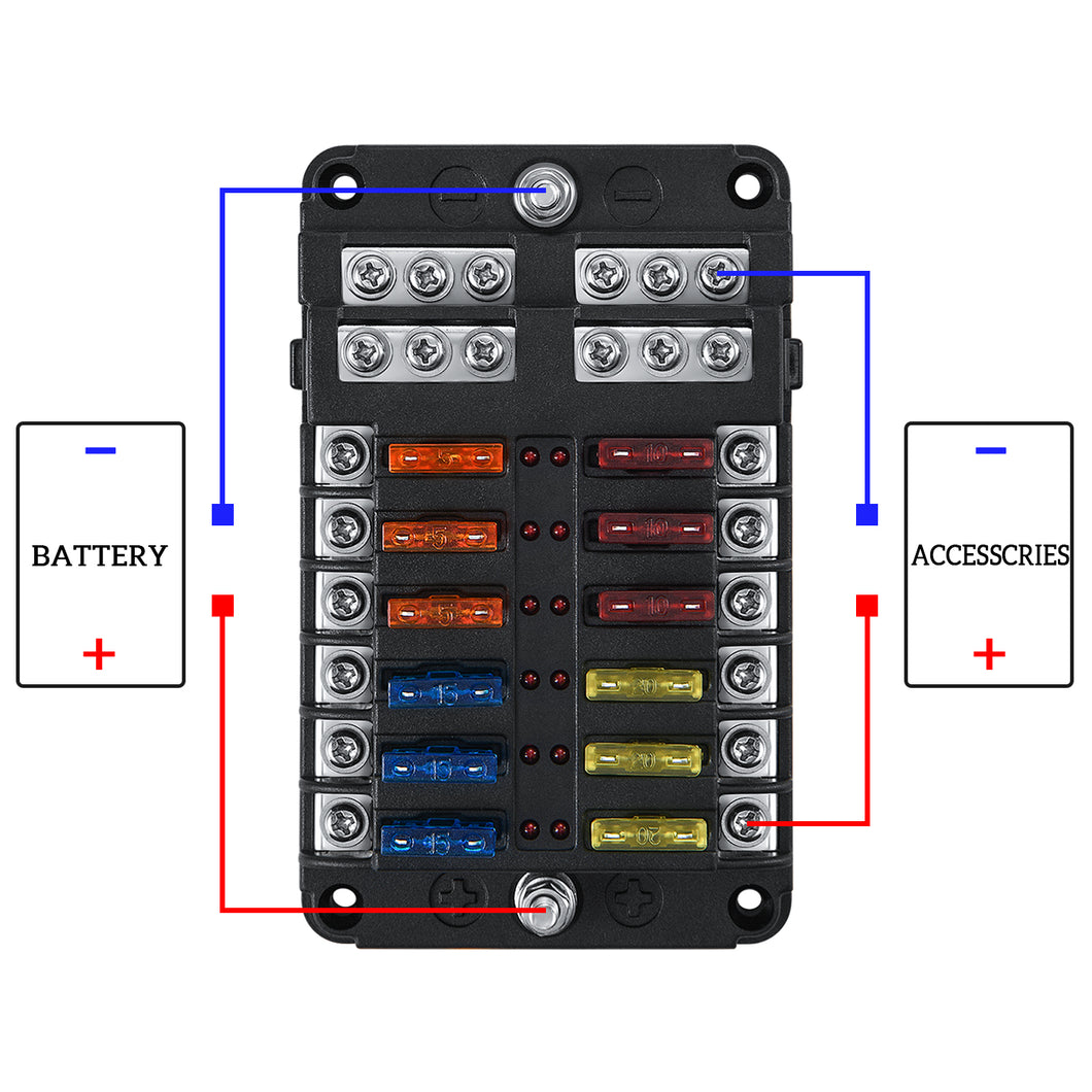 [SCHEMATICS_4PO]  Kohree 12-Way 12V Blade Fuse Block, 12 Volt Automotive Fuse Box Holder –  kohree | 12 Volt Fuse Box |  | Kohree