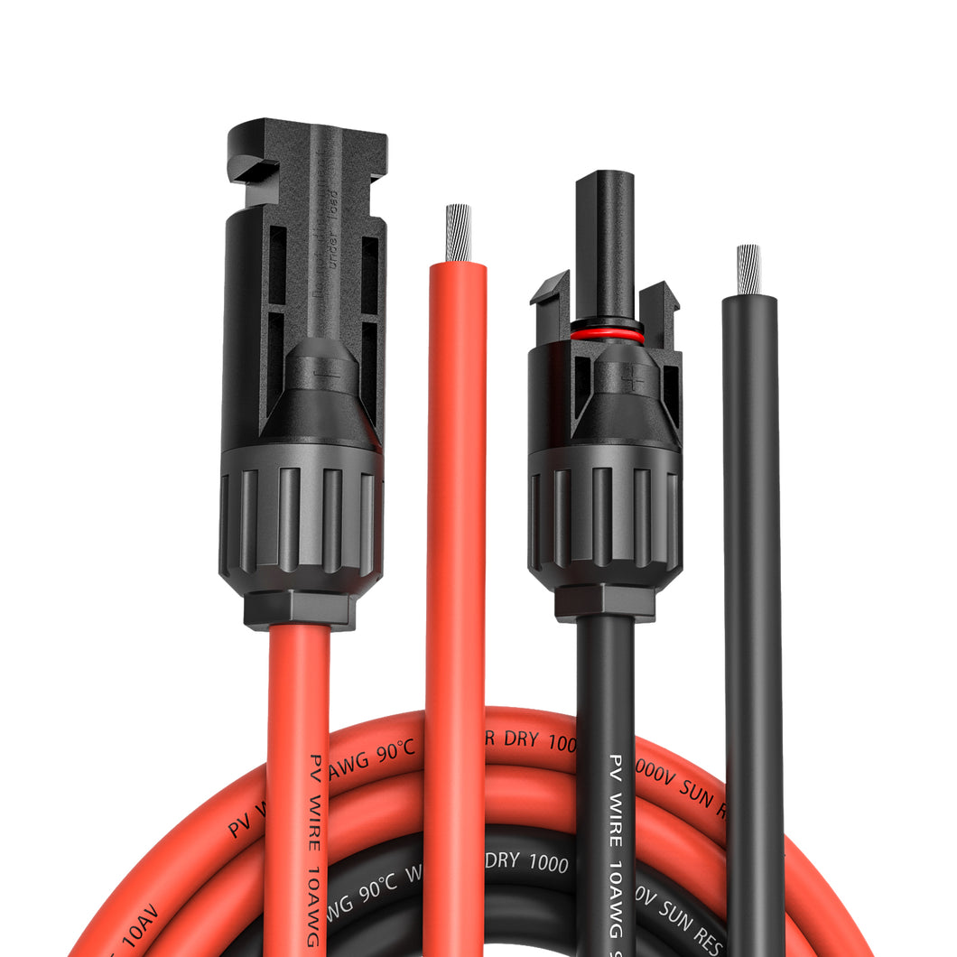 Kohree MC4 Solar Panel Extension Cable 20 Feet 10 AWG Wire Kits with Weatherproof MC4 Female and Male Connector (20FT Red + 20FT Black)