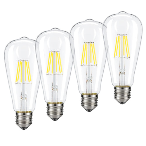 Dimmable Edison LED Bulb, Kohree 6W Vintage LED Filament Light Bulb, 4000K Daylight (Neutral White), 60W Incandescent Equivalent, E26 Base Lamp for Restaurant,Home,Reading Room,Office, Pack of 4