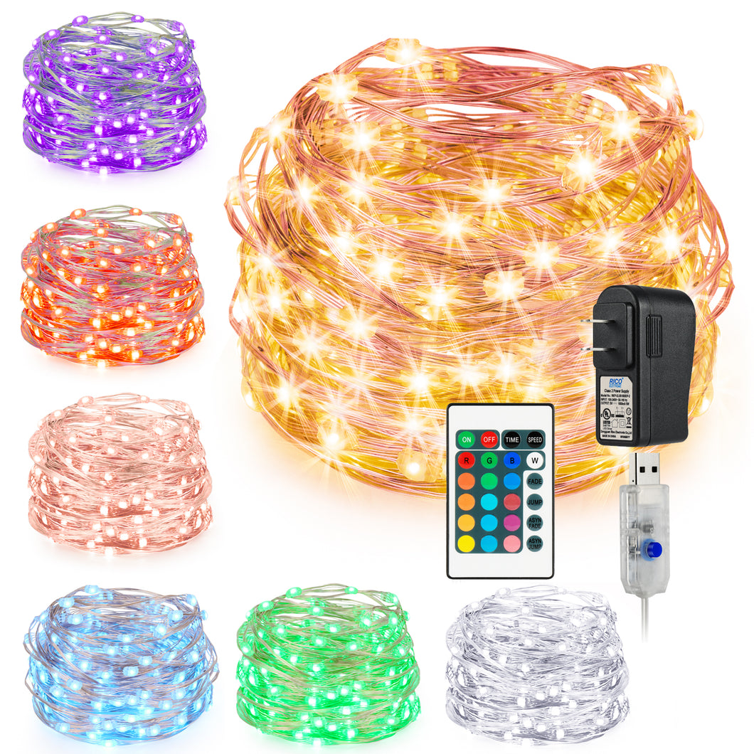 Kohree String Light Christmas Light LED Fair Copper Wire Light USB Power Plug Adapter 16 Colors 33 Feet 100 LEDs Long Ultra Thin String Copper Wire, Decor Rope Light with Timer Perfect for Christmas - kohree