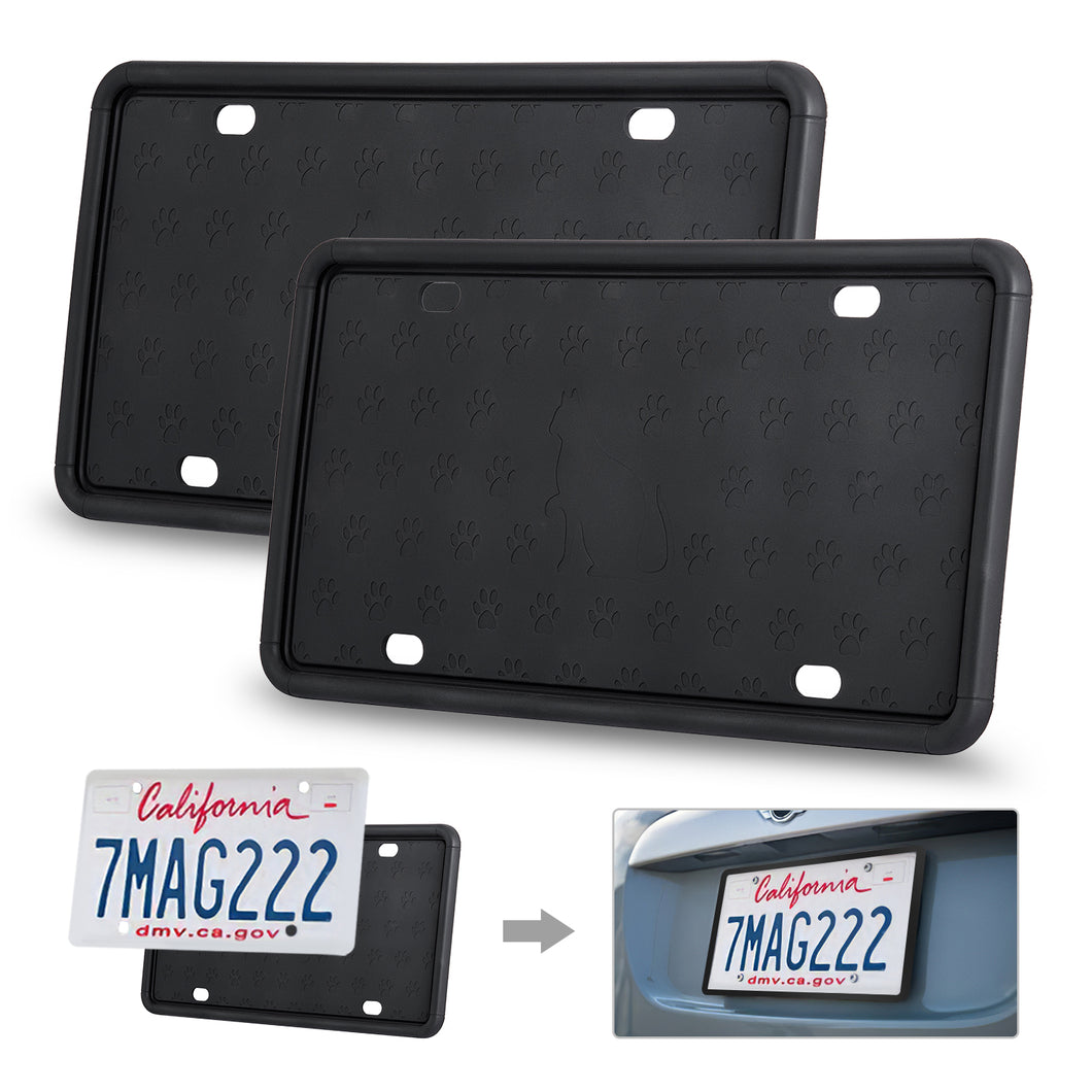 2 Packs Kohree Universal American Car Silicone License Plate Holder with Rust-Proof Weather-Proof - kohree