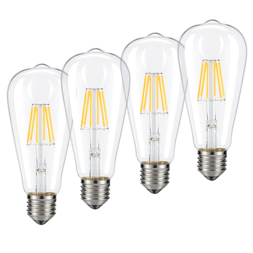 Dimmable Edison LED Bulb, Warm White 2700K, Kohree 6W Vintage LED Filament Light Bulb, 60W Incandescent Equivalent, E26 Medium Base Lamp for Restaurant,Home,Reading Room 4-Packs(NOT Daylight)