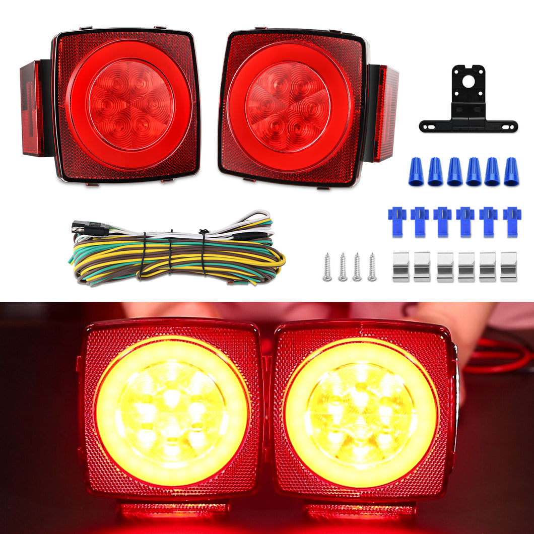 Kohree 12V Led Trailer Light Kit, Boat Submersible Trailer Tail Light Wiring Kit - kohree