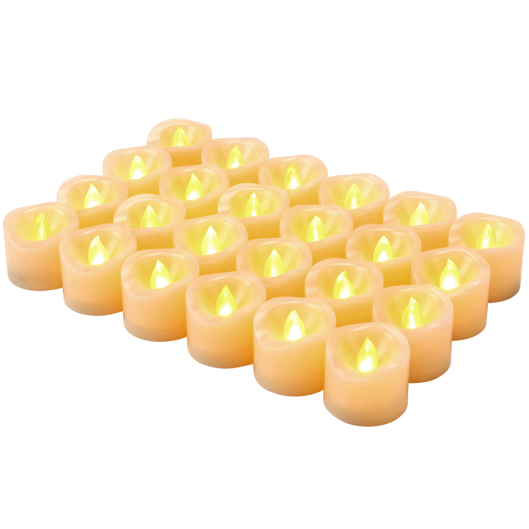 Kohree Flameless Flickering Votive Tea Lights Candles Bulk Battery Operated LED Candles/Flickering Tealights for Garden Wedding,Party,Festival Decorations Pack of 24(Batteries Included)