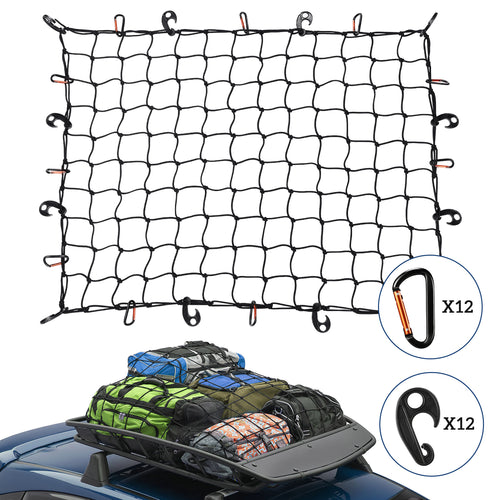 Kohree Roof Rack Cargo Net 3'x4' Stretches to 6'x8' with 12 Tangle-Free D Clip Carabiners - kohree