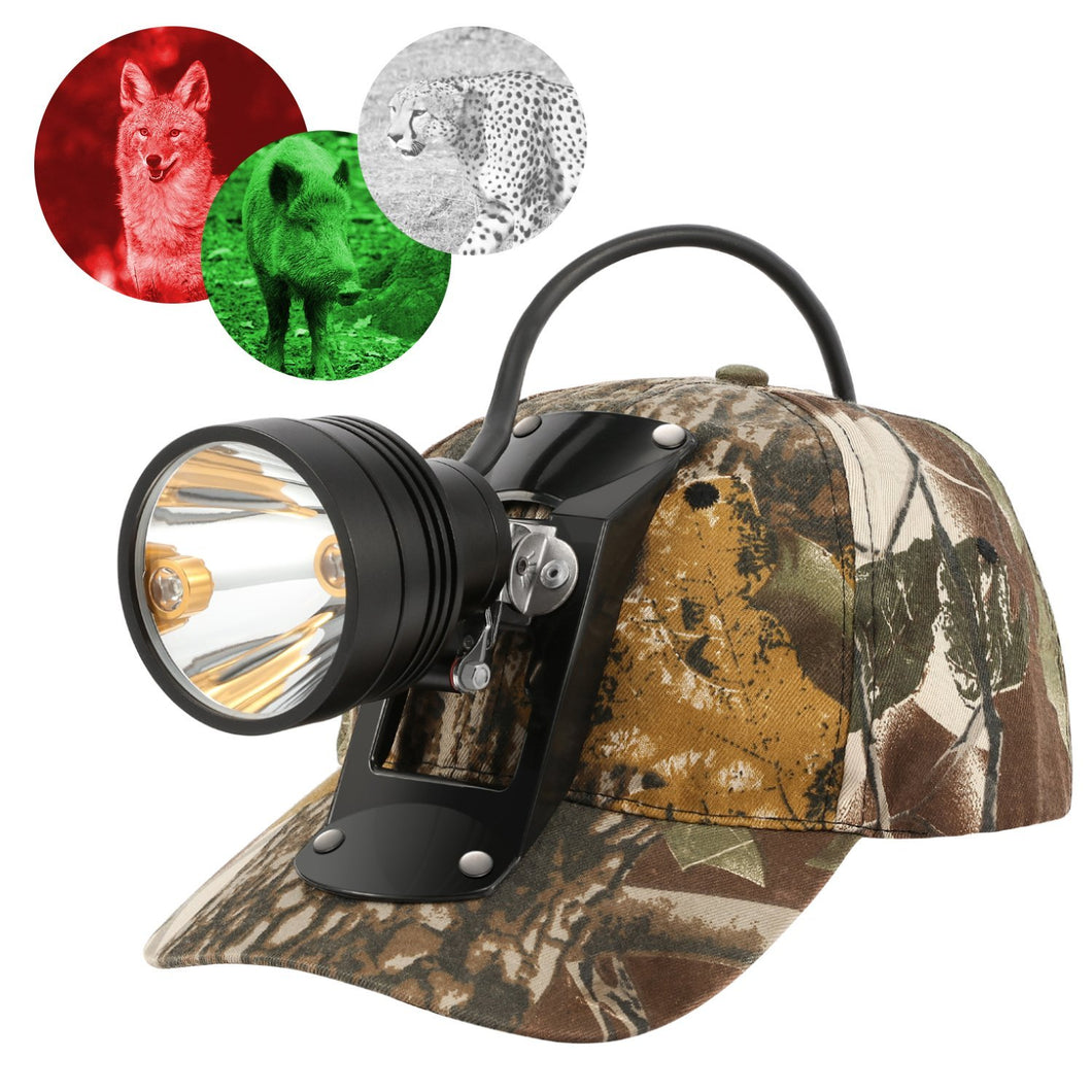 CREE 80000 LUX 3-Color-In-1 Night Coon Hunting Headlamp with Cap, Beam Color: Green, Red, White