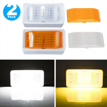 LED RV Porch Light Exterior Utility - Kohree 12V Lighting Fixture LED Panel, 280 Lumen, Replacement Lighting for RVs, Trailers, Campers, 5th Wheels. White Base, Clear and Amber Lenses Included 2 Packs