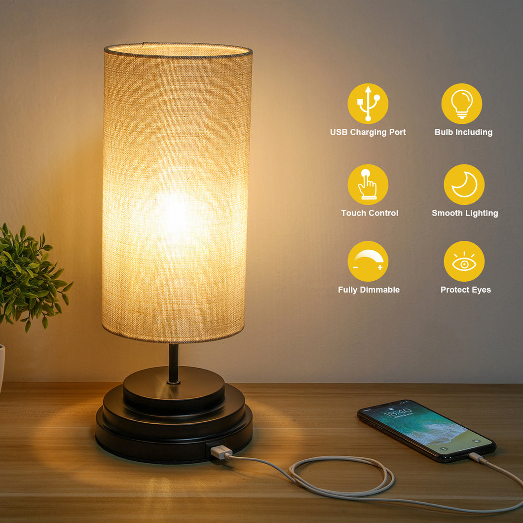 Kohree Touch Control Bedside Table Lamp, Fully Dimmable Nightstand Lamp with USB Charging Port - kohree