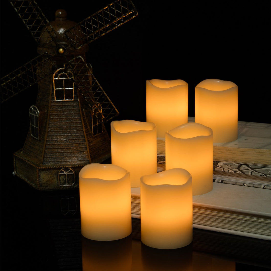 Warm White Pack of 6 Kohree Real Wax Candle LED Flameless Candle Remote Control Candles Battery Operated Retro Unscented Ivory Votive Pillar Candles Light