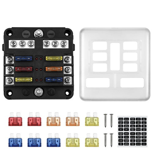 Kohree 6 Way 12V Blade Fuse Block 12 Volt Waterproof Fuse Box Holder, 6 Circuit W/Negative Bus Fuse Box with LED Indicator for 12V/24V Automotive Truck Boat Marine RV Van Vehicle - kohree