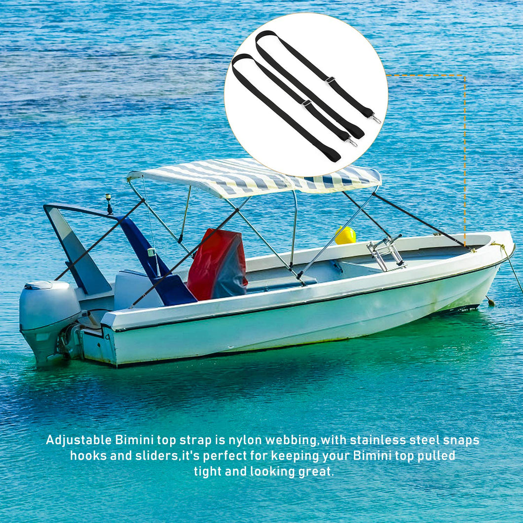 Vtete 2 PCS Adjustable Bimini Boat Awning Hardware Top Straps with Loops and Single Snap Hook 28~60 Stainless Steel Boat