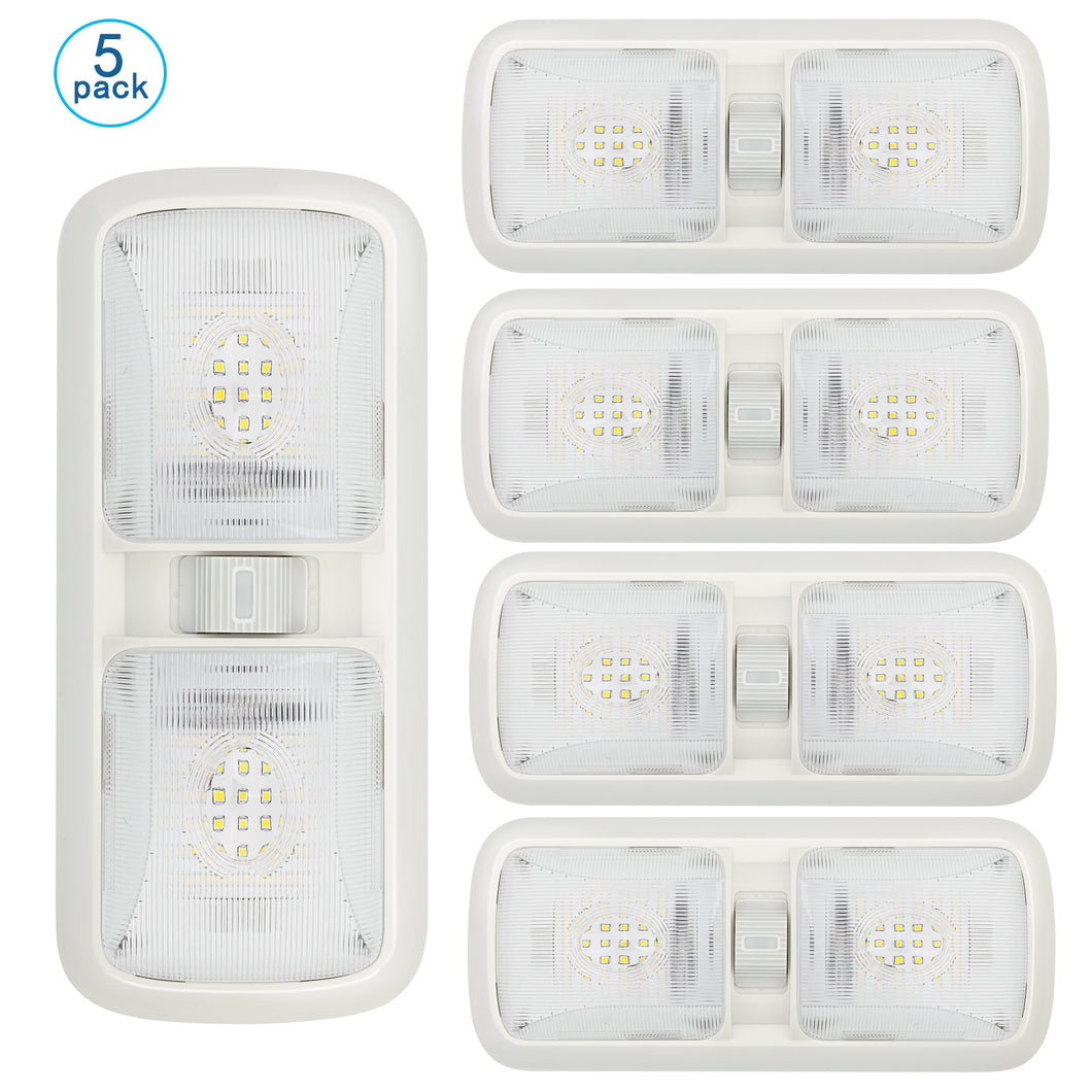 5 Pack Upgraded Led RV Ceiling Double Dome Light, RV Interior Lightning with ON/Off Switch, for RV, Trailer, Camper, Car, Boat, Natural Light, Clear Cover, 4000-4500K, 700 Lumen
