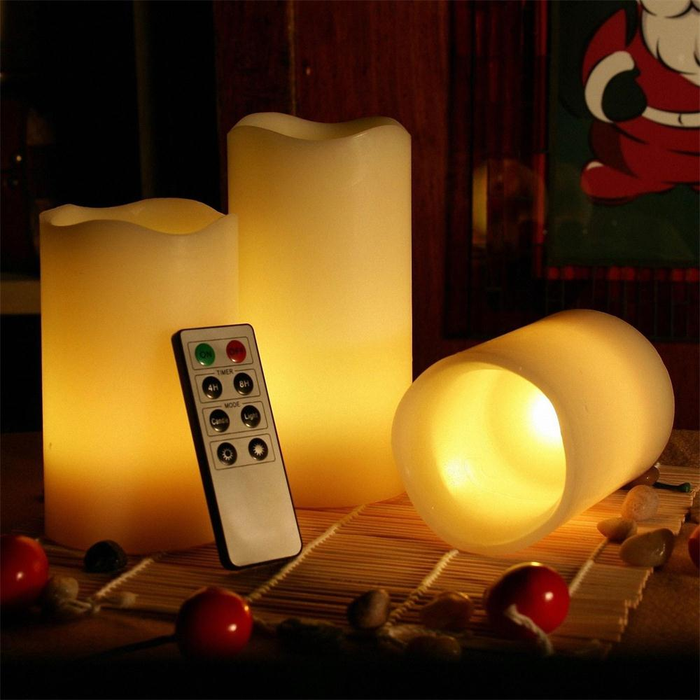 Kohree Real Wax Flameless Candles Battery Operated Led Candles Lights Remote Control Candles with Timer (Pack of 3) - kohree