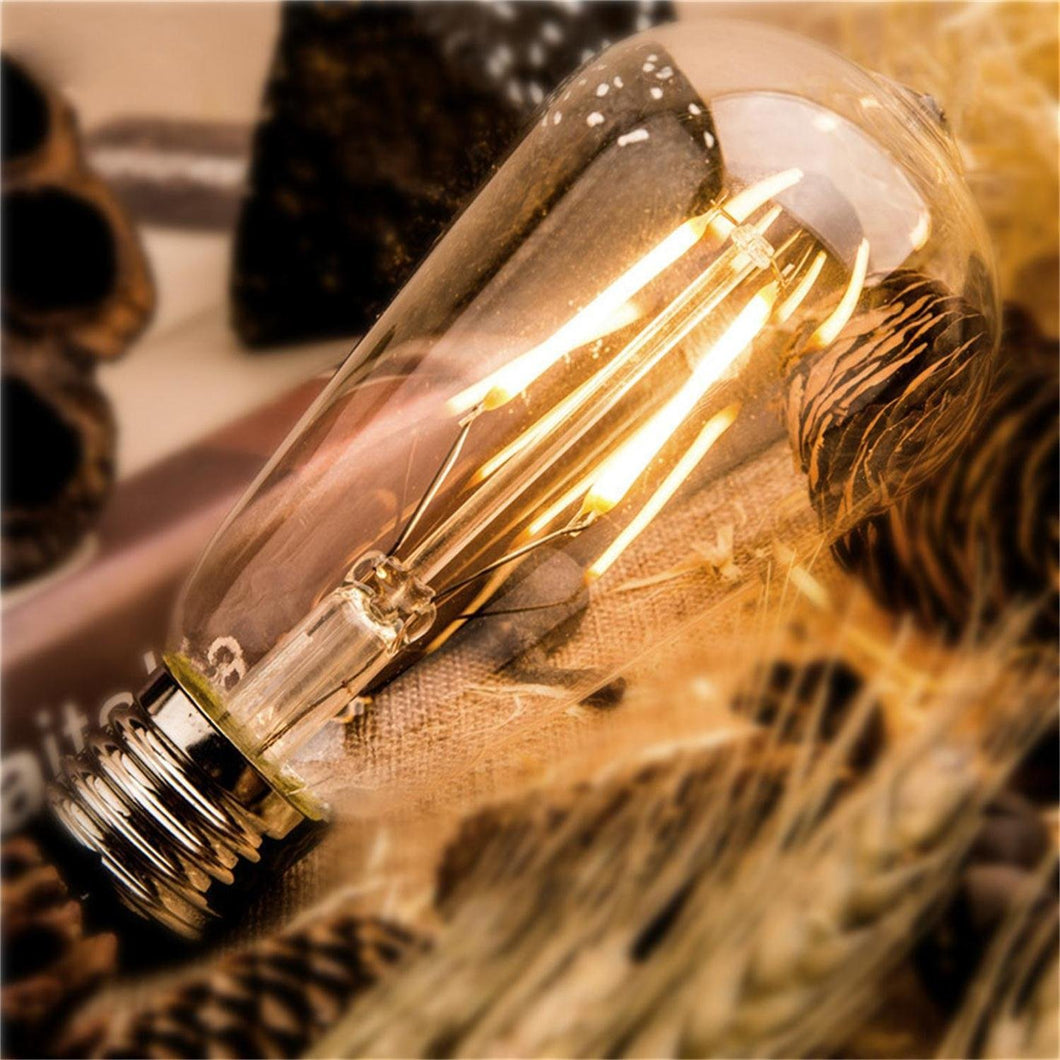 Dimmable Edison LED Bulb, Warm White 2700K 6W Vintage Filament ST64 E26 Medium Base Antique Style Lamp, 6-Pack - kohree