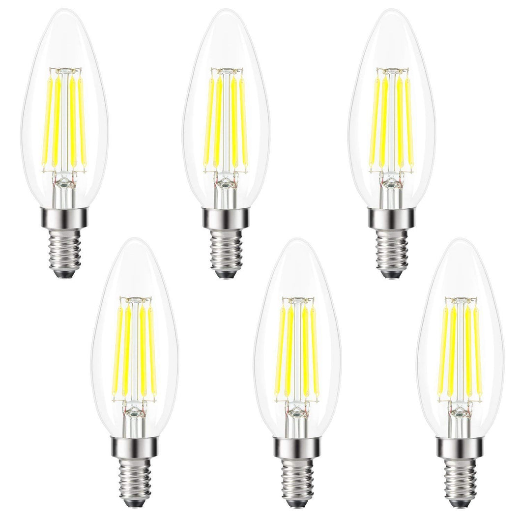 Kohree Candelabra LED Bulbs, 4 Watt 400 Lumen 5000K Daylight White, E12 Led Bulb Base 40W Equivalent LED Edison Filament Chandelier Candle Light Bulb 6 Pack, UL Listed - kohree
