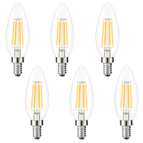Kohree E12 LED Candelabra Bulb Chandelier Light Bulb 2700K Warm White, Dimmable 4W, 40W Equivalent, C35 Incandescent Edison Candle Light Bulb,, Pack of 6 UL Listed