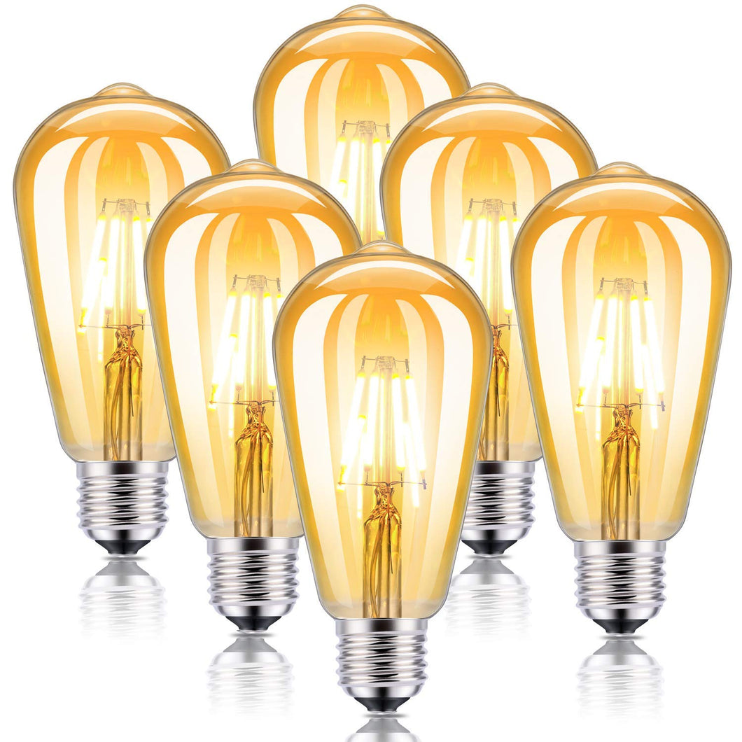 Kohree LED Edison Light Bulbs Dimmable 4W 2300K Amber Warm White Antique Vintage Edison Bulbs E26 40W Equicalent Squarrel Cage Filament Light Bulb UL Listed(6-Pack)