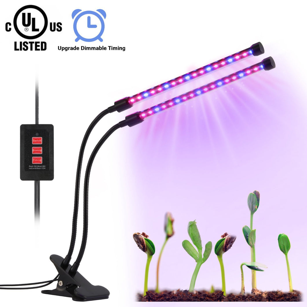 Led Grow Light, Dual-lamp Plant Grow Lights Bulbs Timing Function(3H/6H/12H), 4 Dimmable Levels, USB Charger, UL Certified, Adjustable Gooseneck Indoor Plants Hydroponics Tent Herbs Potted [Upgrade]