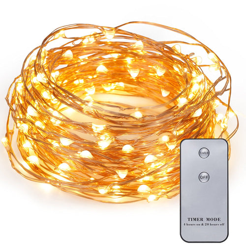 Kohree 20ft 120 LEDs Copper Wire Fairy Lights with Wireless Remote Control, Battery Operated, Mini Micro LED String Lights Outdoor Decor for Patio, Garden, Home, Christmas, Wedding, Holiday and Party - kohree