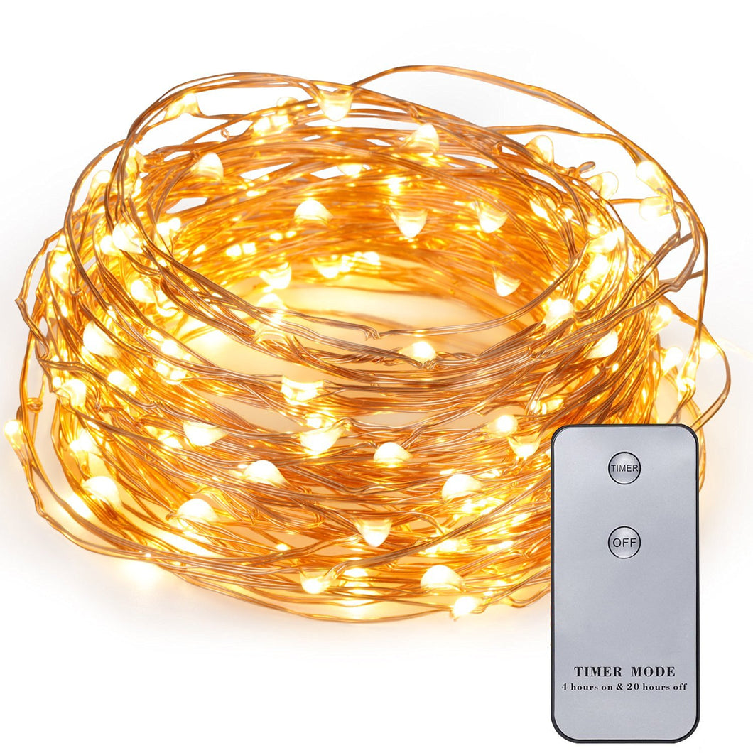 Kohree 20ft 120 LEDs Copper Wire Fairy Lights with Wireless Remote Control, Battery Operated, Mini Micro LED String Lights Outdoor Decor for Patio, Garden, Home,