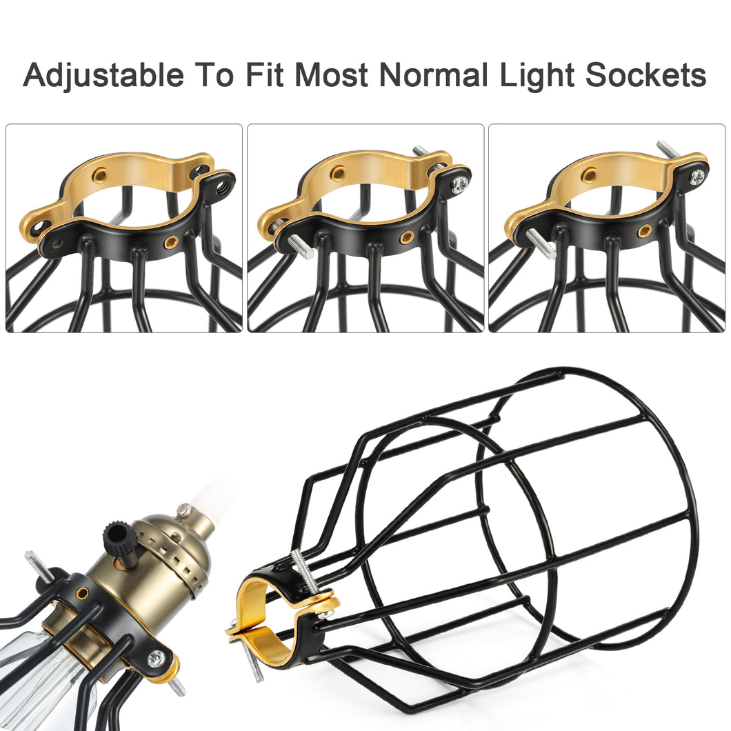 For Pendant Light Ceiling Fan Light Bulb Covers Vintage Open Style Industrial Grade Adjustable 4 Packs Cage Only Kohree Metal Bulb Guard Lamp Cage Hp478 Lamp Holder Pendant Lights