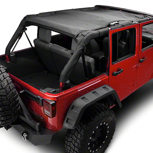 Kohree Jeep Wrangler Sunshade Mesh Shade Full Top cover Provides UV Protection for 4 Door JK or JKU 2007-2017 Original black