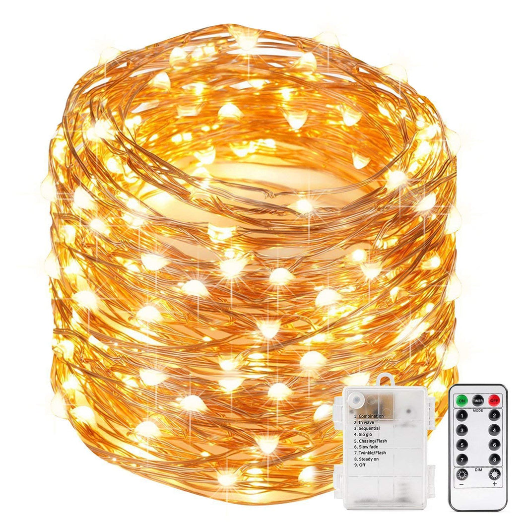 Kohree Xmas light String Lights Remote Control and Timer 40 Foot 120 LEDs Fairy Light Waterproof Battery Powered Long Ultra Thin Copper Wire Lights Perfect for Holiday Xmas Decoration, Weddings - kohree