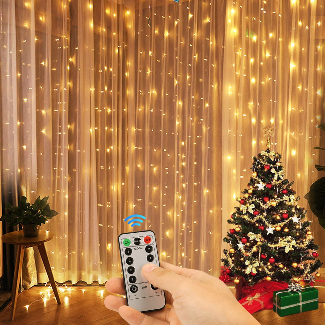 Kohree Window Curtain Lights, Christmas String Light Remote Control Outdoor Indoor for Xmas, Home, Church, Balcony, Holiday, Wedding, Party Decorations, Warm White, 360 LEDs, UL Certified 2.2M - kohree