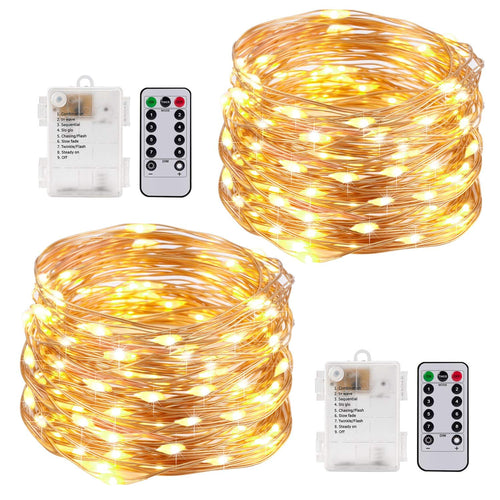 Kohree String Lights LED Copper Wire Fairy Christmas Light with Remote Control, 33ft/10M 100LEDs, AA Battery Powered, Decor Rope Lights for Holiday, Wedding, Parties, Waterproof Battery Box Pack of 2 - kohree