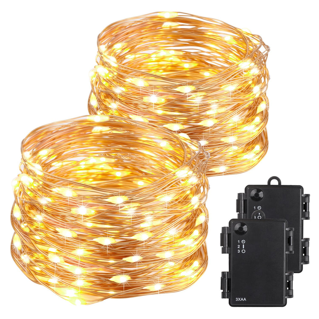 Kohree Christmas String Light Copper Wire Light Waterproof Battery Powered on 40 Feet 120 LEDs Long Ultra Thin String Copper Wire, Decor Rope Light with Timer Perfect for Weddings, Party, Bedroom, Xma - kohree