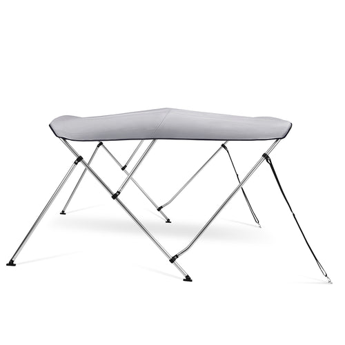 Kohree 3 Bow Bimini Top Boat Cover with Rear Support Pole and with a Set of Aluminum Frame Mounting Hardwares (Grey)