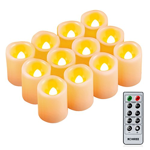 Kohree Flameless Battery Operated LED Pillar Candles Unscented Ivory Votive Remote Candles with Remote Control & Timer, Amber Yellow Flame(12 Set)