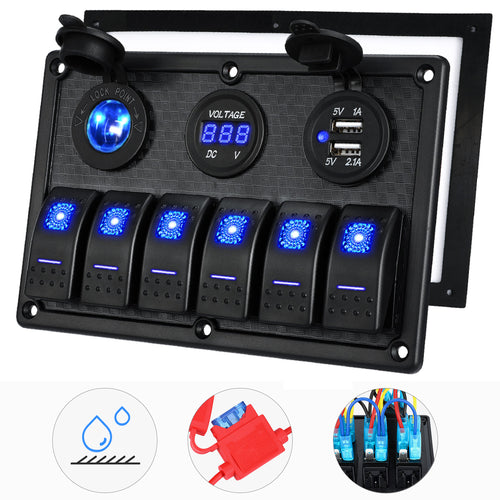 Kohree 6/8 Gang Marine Boat Rocker Switch Panel, Waterproof RV Led Switch Panel Digital Voltmeter