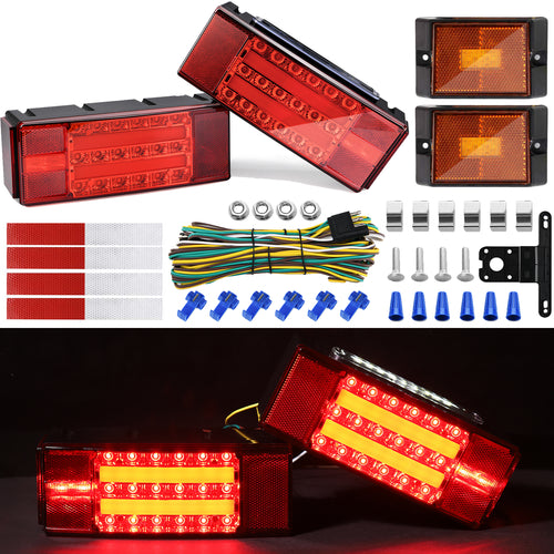 Kohree 12V LED Submersible Trailer Tail Light and Wiring Kit With Stop, Taillights, Turn Function - kohree
