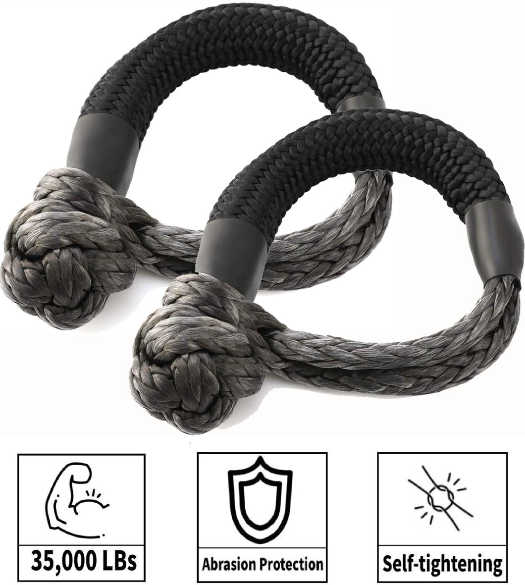 Kohree Synthetic Soft Shackle,7/16 Inch X 20 Inch (35,000lbs Breaking Strength) UHMWPE Soft Shackle Recovery Rope for Sailing SUV ATV 4X4 Truck Jeep Recovery Climbing Towing (2 Pack) - kohree