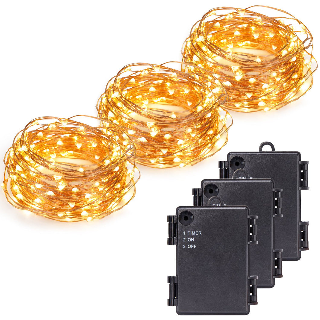 Kohree 3 Pack 100 LEDs Christmas String Light Battery Powered on 33ft Long Ultra Thin String Copper Wire, Decor Rope Flexible Light with Timer and Battery Box Perfect for Weddings, Tree, Party, Xmas - kohree