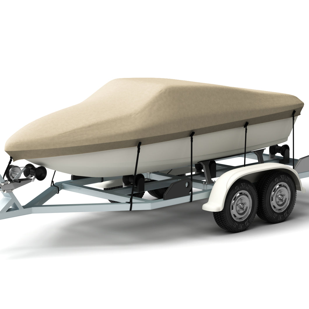 Kohree Trailerable Runabout Boat Cover Fit V-hull Tri-hull Fishing Ski Pro-style Bass Boats ,Heavy Duty 600D Polyester