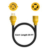 Kohree 20ft 10 Gauge Generator Locking Power Cord L14-30 125/250V 30Amp 7500 W with Cord Organizer - kohree